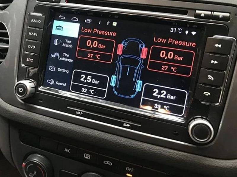Cảm biến áp suất lốp van trong hiển thị thông số trên màn hình
