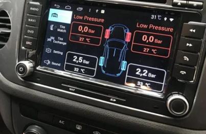 Cảm biến áp suất lốp hiển thị thông số trên màn hình quan sát