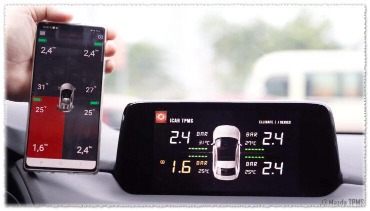 Cảm biến áp suất lốp J3 hiển thị màn hình AVN nguyên bản ô tô