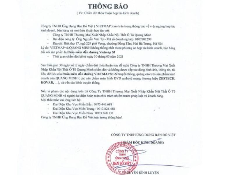 Thông tin hot giua Công ty Quang Minh Và Vietmap