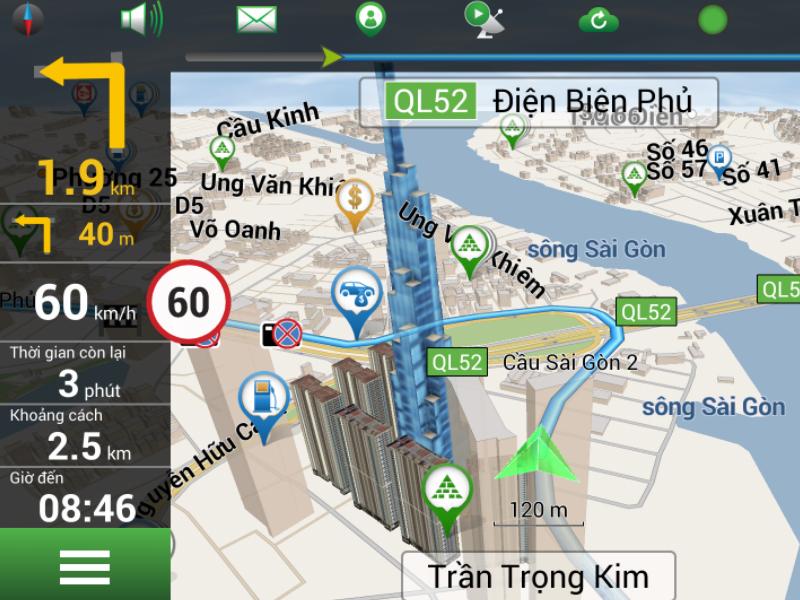 Bản đồ Navitel chỉ đường với hình ảnh 3d