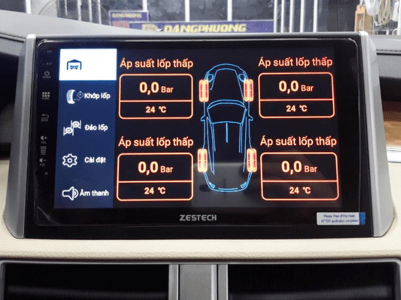 Cảm biến áp suất lốp van ngoài hiển thị thông số trên đầu DVD