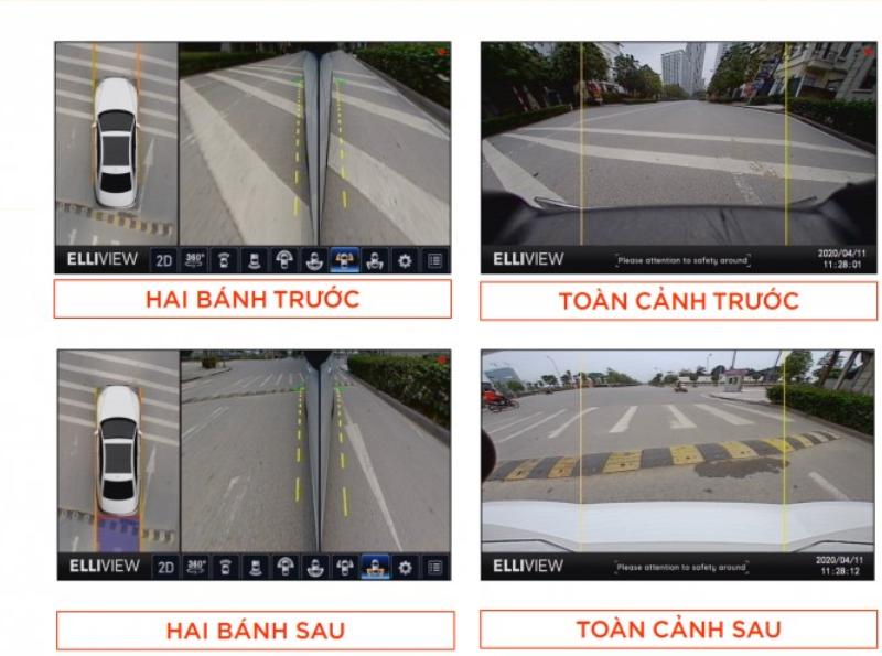 Camera 360 giúp quan sát toàn cảnh xung quanh xe