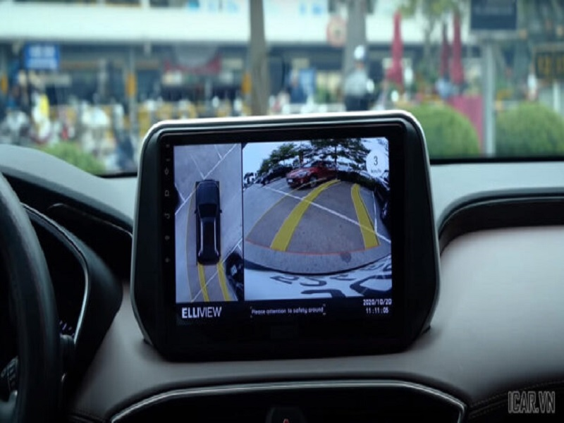 Tính năng hiển thị đánh lái theo vô lăng của camera 360 ô tô Elliview V4