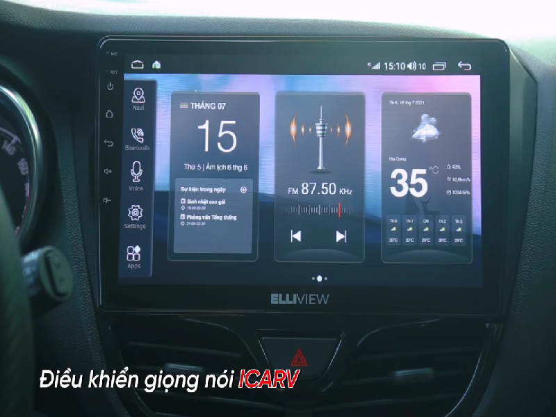 màn hình android ô tô Elliview U4 Basic với khả năng điều khiển bằng giọng nói