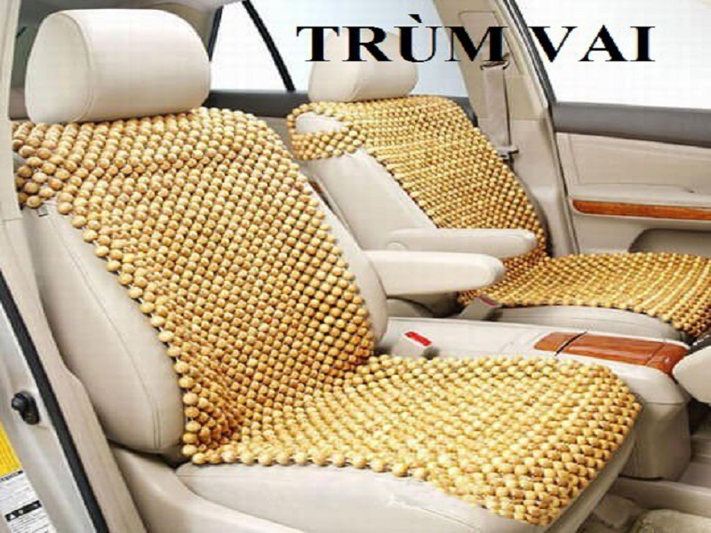 Lót ghế ô tô hạt gỗ pơ mu dạng trùm vai