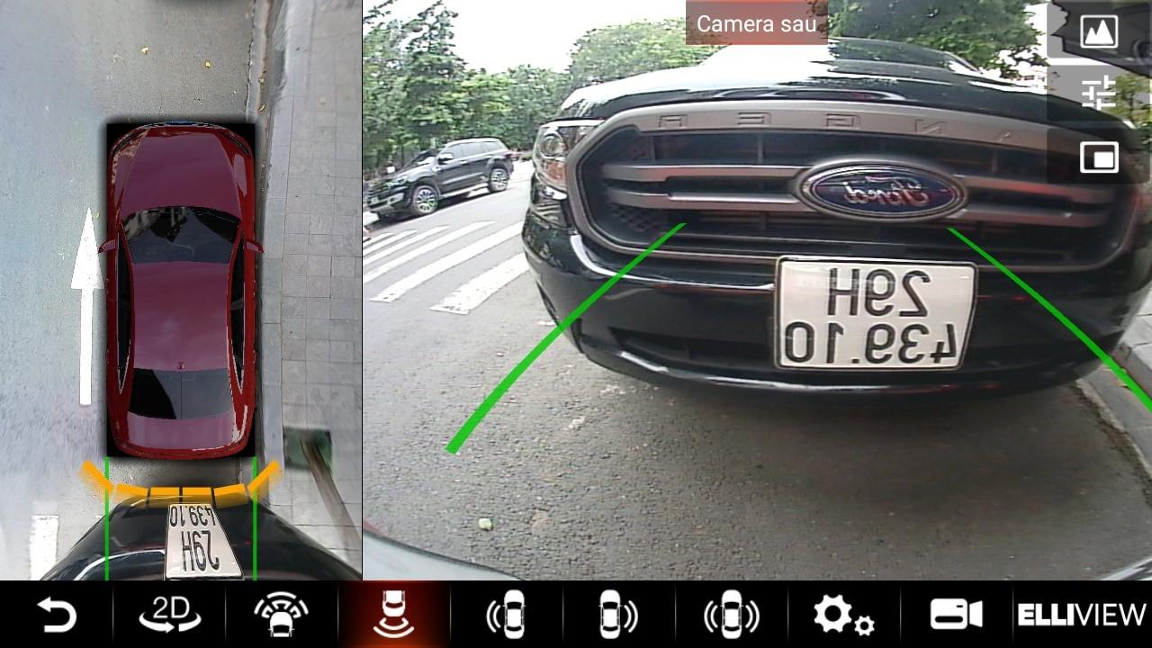Hình ảnh camera 360 Elliview S4, với chất lượng siêu nét và cảm biến đỗ xe có thể hiển thị trên màn hình